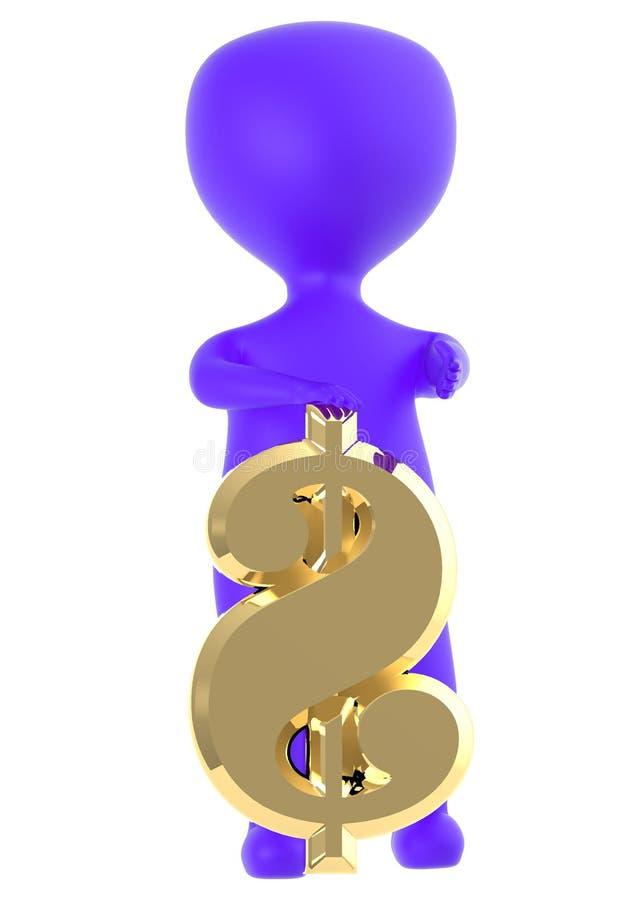 caractère 3d pourpre présentant un symbole dollar brillant d'or illustration stock