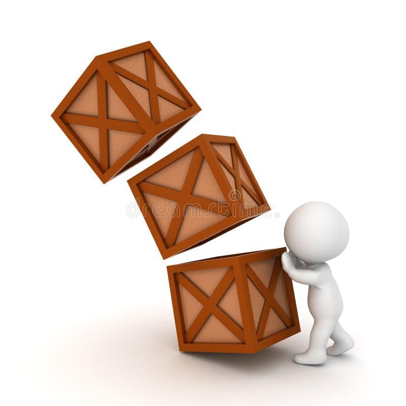 caractère 3D poussant au-dessus d'une pile de caisses illustration de vecteur