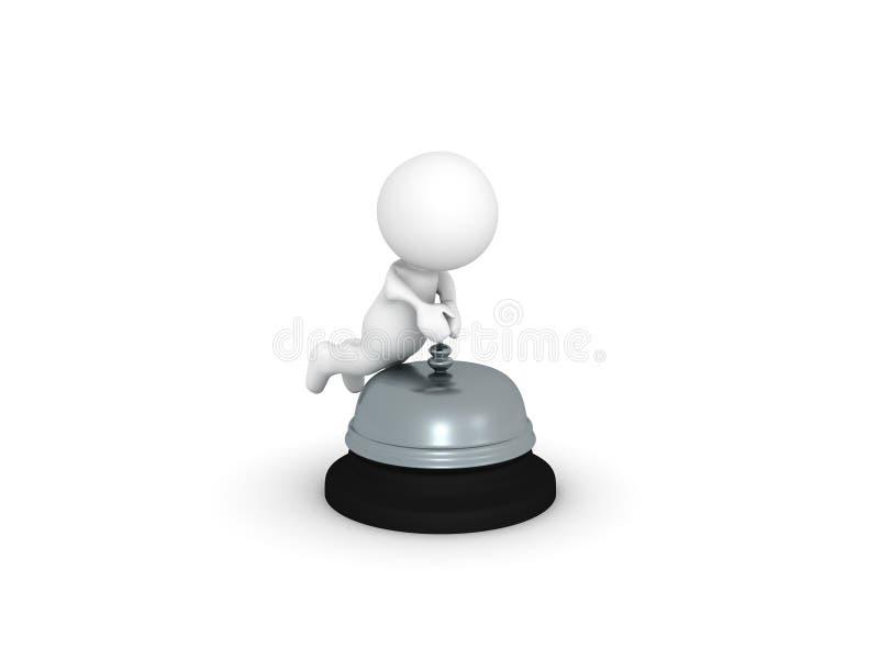caractère 3D poussant la cloche de réception illustration libre de droits