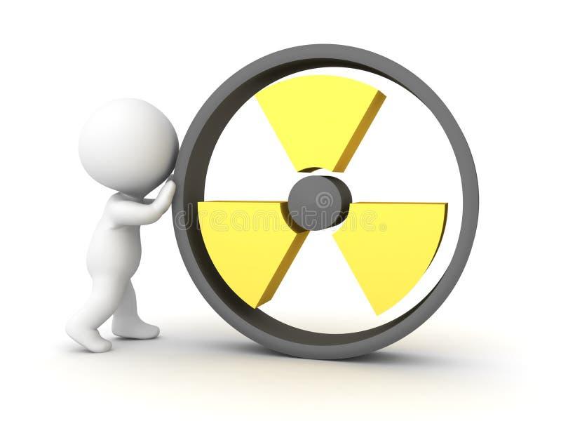 caractère 3D poussant le logo radioactif illustration stock