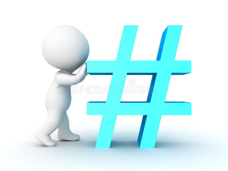 caractère 3D poussant le signe bleu de hashtag ou de livre illustration de vecteur