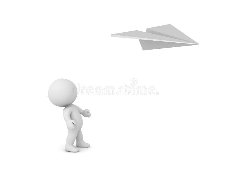 caractère 3D regardant l'avion volant de papier illustration libre de droits