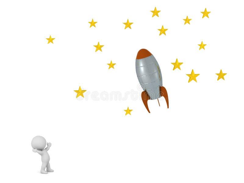 caractère 3D regardant Rocket Flying Toward Stars illustration libre de droits