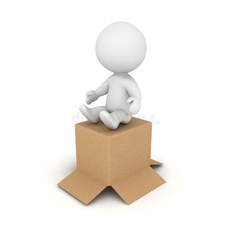 caractère 3D se reposant sur la boîte en carton illustration stock