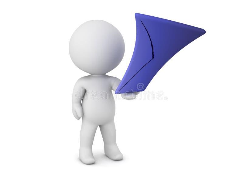 caractère 3D tenant étirer l'enveloppe de courrier illustration libre de droits