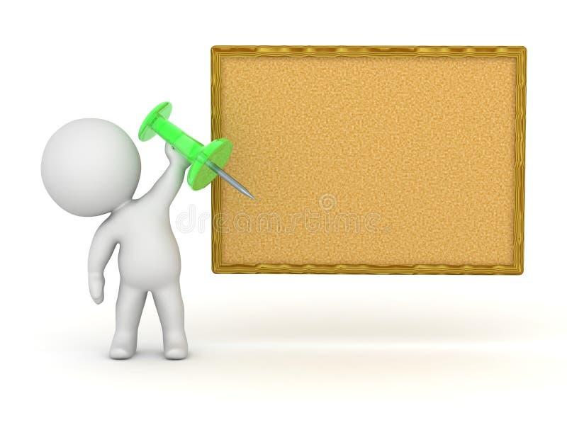 caractère 3D tenant le Pin pour Corkboard illustration stock
