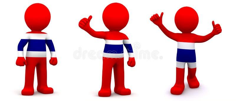 caractère 3d texturisé avec le drapeau de la Thaïlande illustration libre de droits