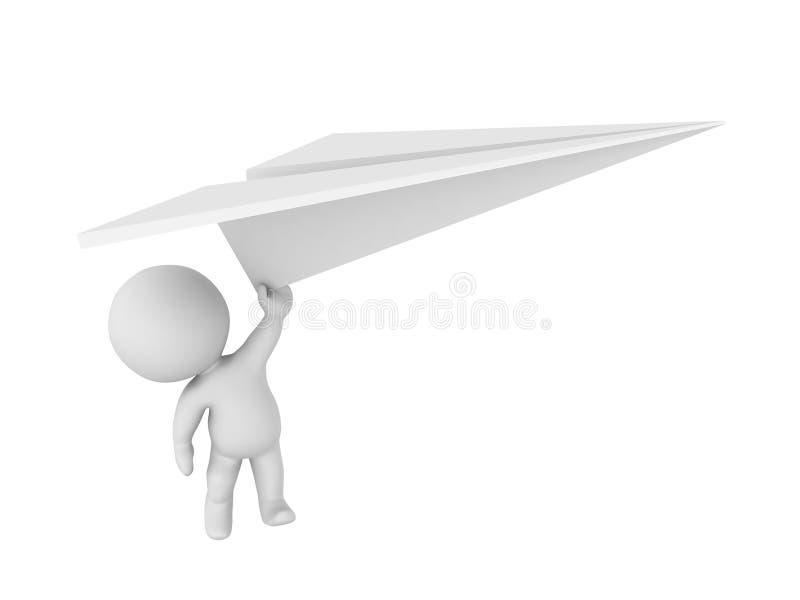 caractère 3D volant loin tenant le grand avion de papier illustration de vecteur