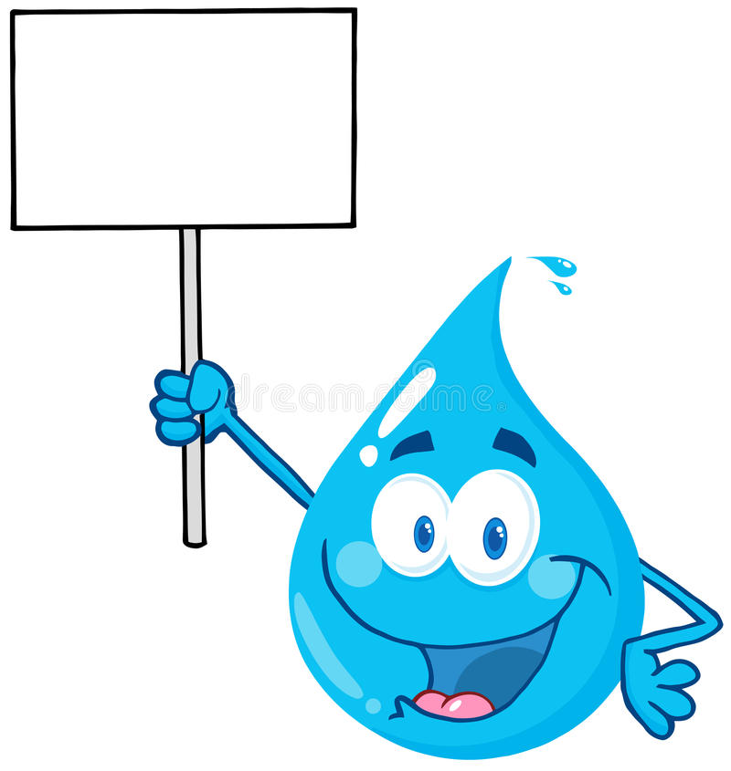 Caractère de baisse de l'eau retardant un signe blanc illustration stock