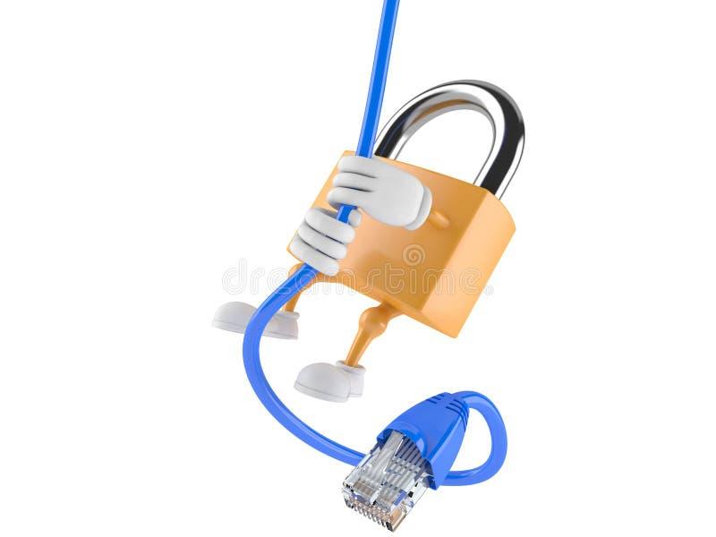 Caractère de cadenas avec le câble de réseau illustration de vecteur