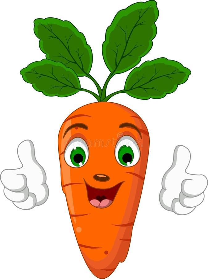 Caractère de carotte de bande dessinée renonçant à des pouces illustration stock