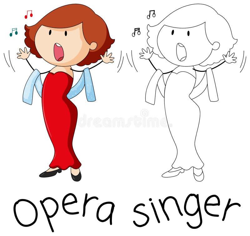 Caractère de chanteur d'opéra de griffonnage illustration stock