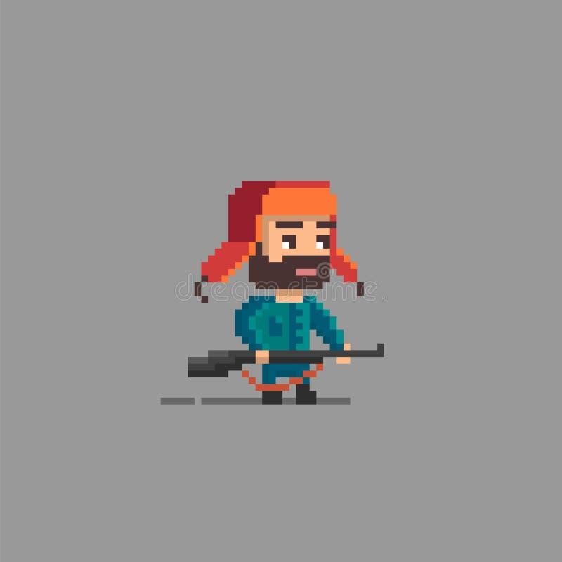 Caractère de chasseur d'art de pixel illustration libre de droits