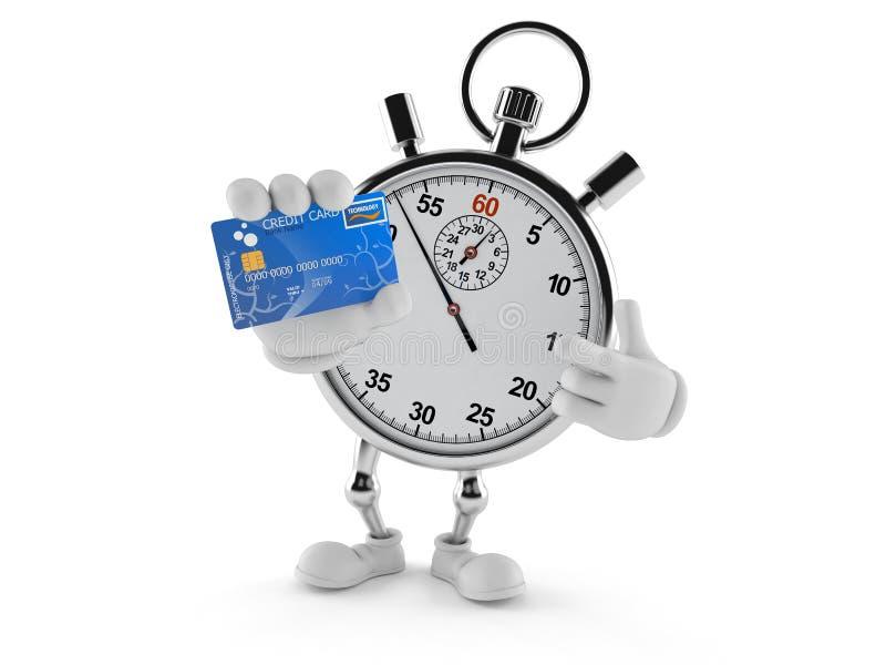 Caractère de chronomètre tenant la carte de crédit illustration stock