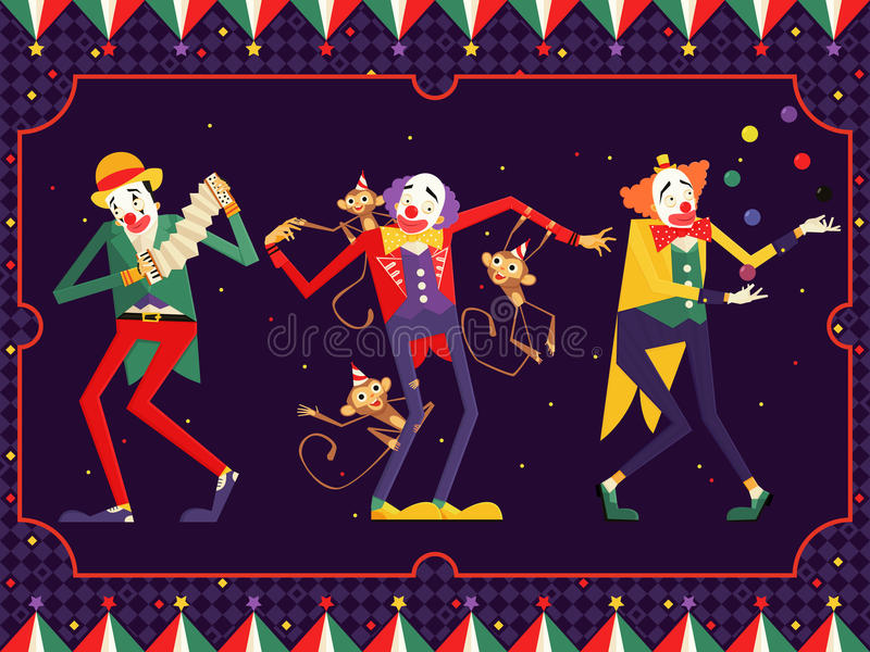 Caractère de clown de cirque de bande dessinée Illustration images stock