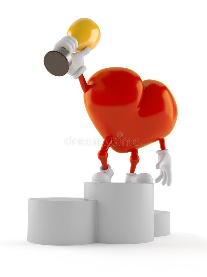 Caractère de coeur sur le podium tenant le trophée illustration de vecteur