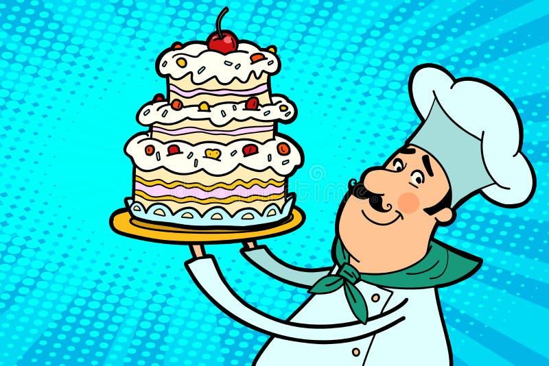 Caractère de cuisinier de chef avec le gâteau de cerise illustration libre de droits