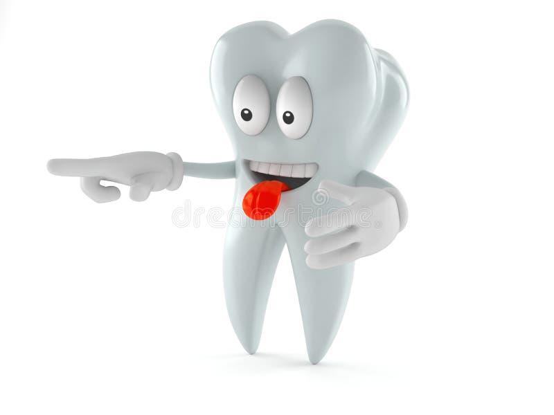 Caractère de dent dirigeant le doigt illustration stock