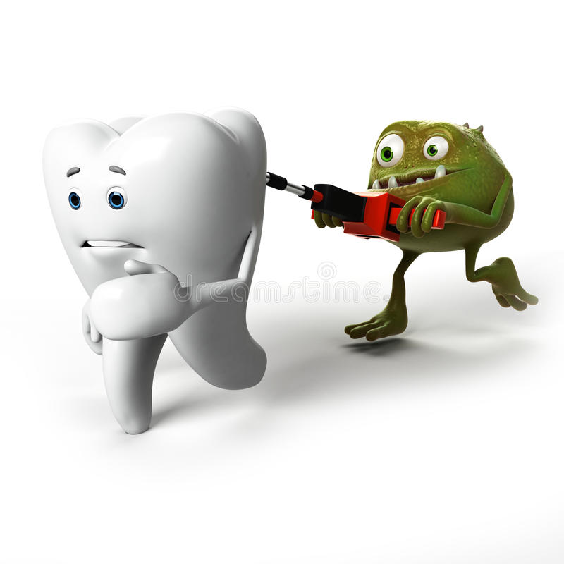 Caractère de dent et de bactéries illustration de vecteur