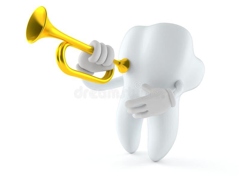 Caractère de dent jouant la trompette illustration stock