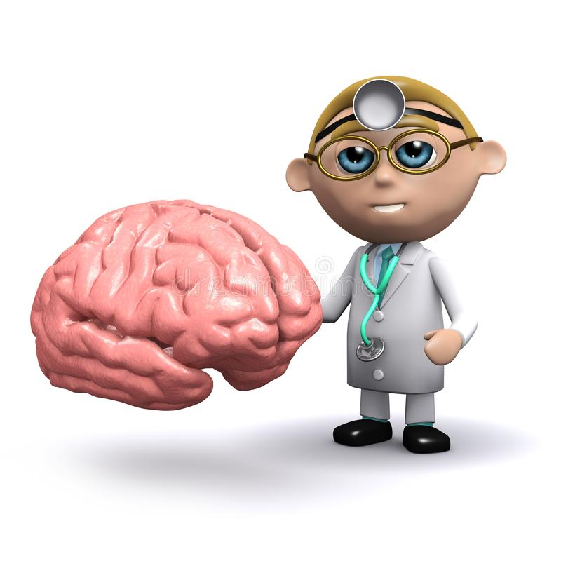 caractère de docteur de la bande dessinée 3d avec le cerveau illustration libre de droits