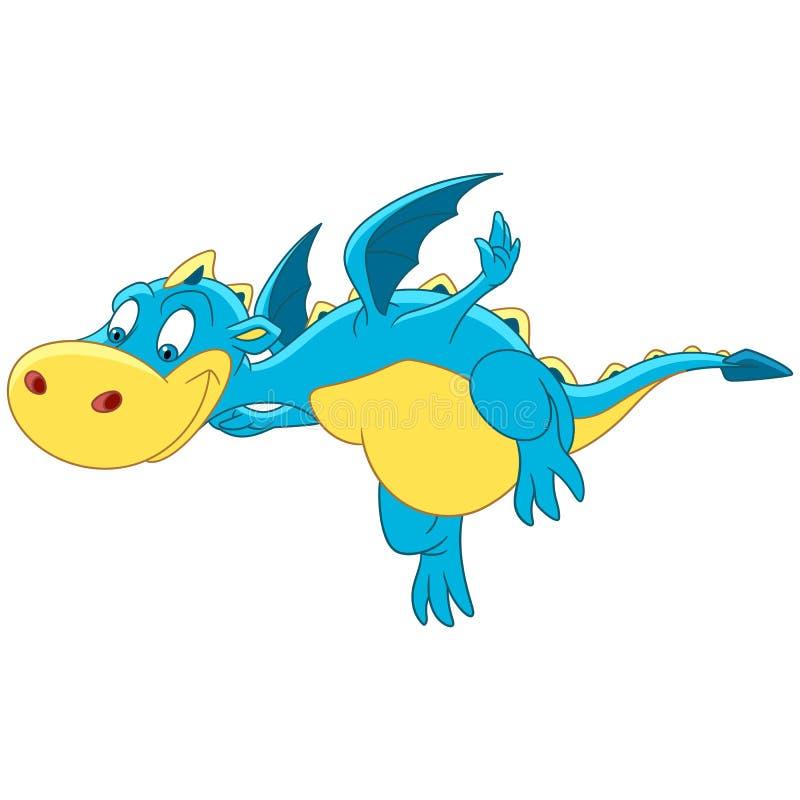 Caractère de dragon de vol de bande dessinée illustration de vecteur