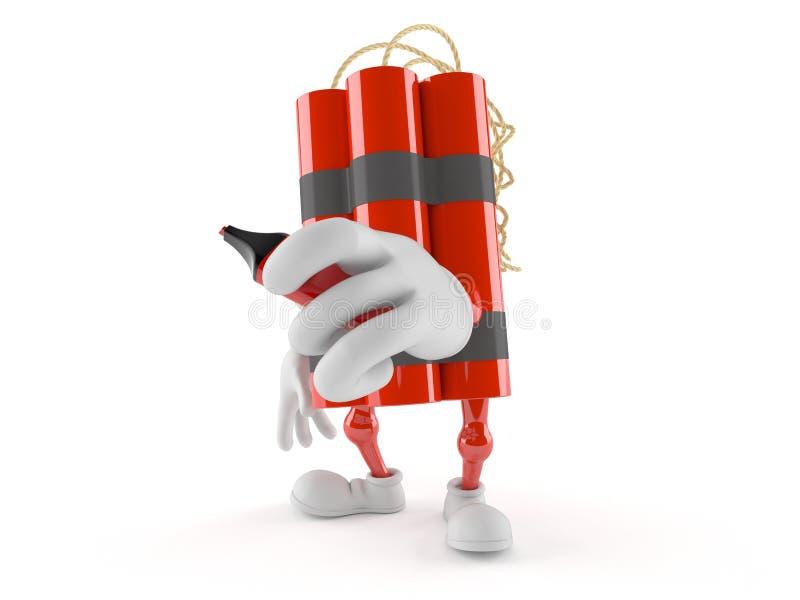 Caractère de dynamite tenant le marqueur illustration de vecteur