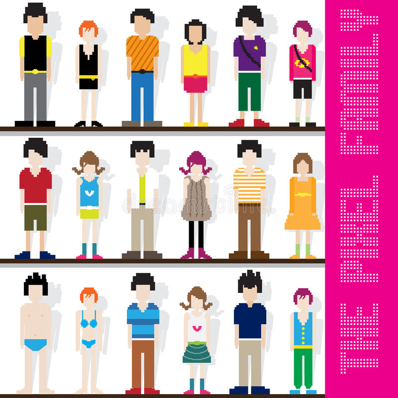 Caractère de famille de pixel illustration stock