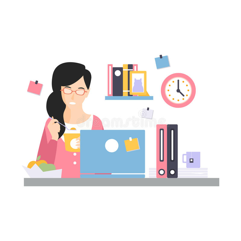 Caractère de femme d'affaires de brune ayant un lancement sur son lieu de travail de bureau, vie quotidienne d'employé de bureau, illustration de vecteur
