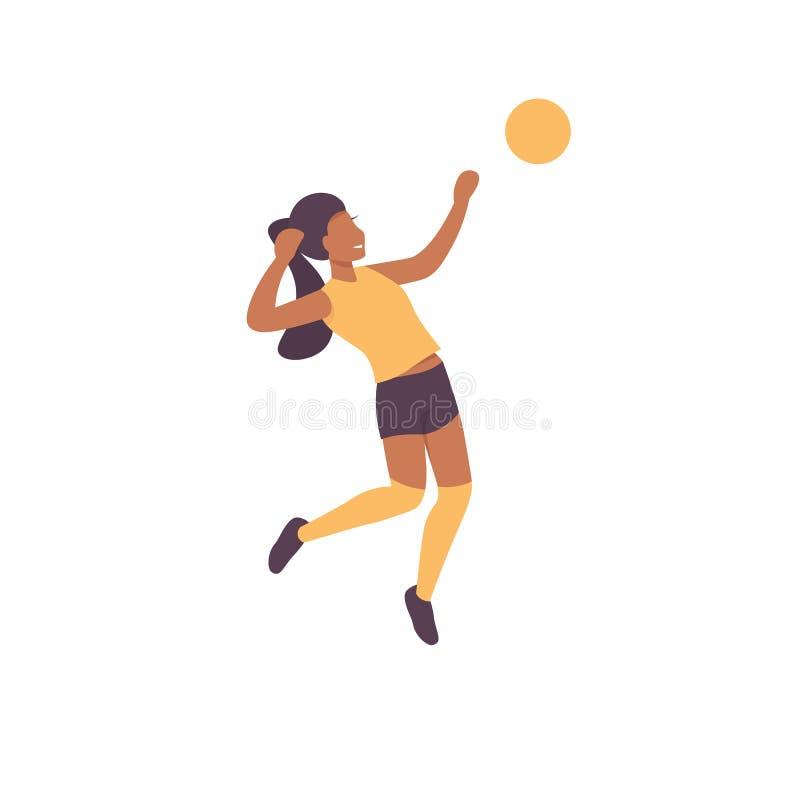 Caractère de femme maniant le match de volley habilement illustration stock