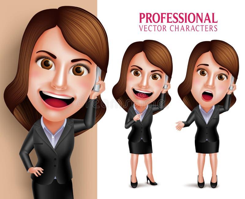 Caractère de femme professionnelle avec le sourire heureux d'équipement d'affaires illustration libre de droits