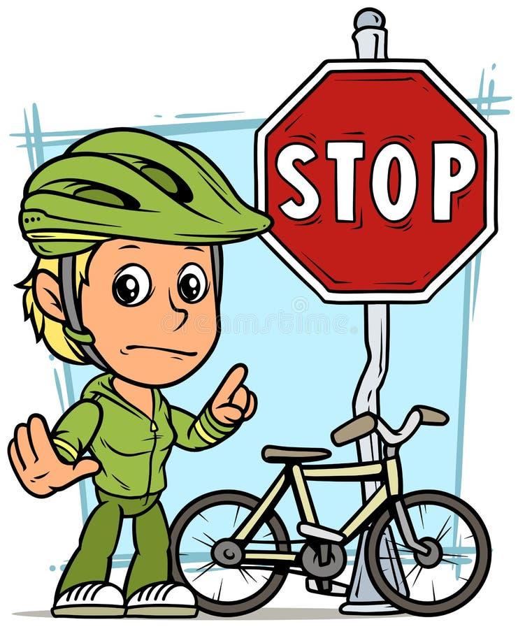 Caractère de fille de bande dessinée avec le poteau de signalisation d'arrêt illustration libre de droits