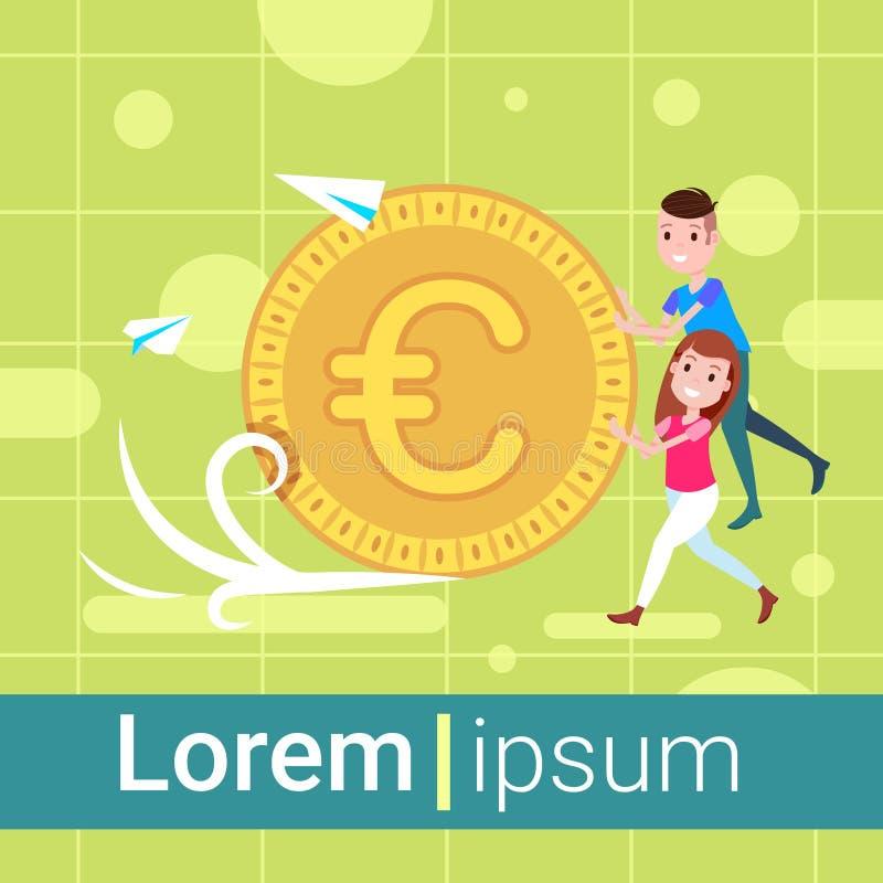 Caractère de fille d'homme poussant l'euro calibre de pièce de monnaie pour l'espace plat intégral de copie de richesse de croiss illustration libre de droits