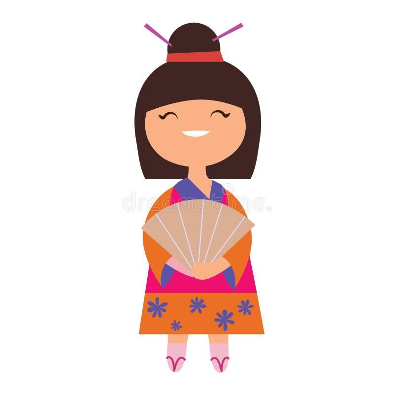 Caractère de fille du Japon illustration de vecteur