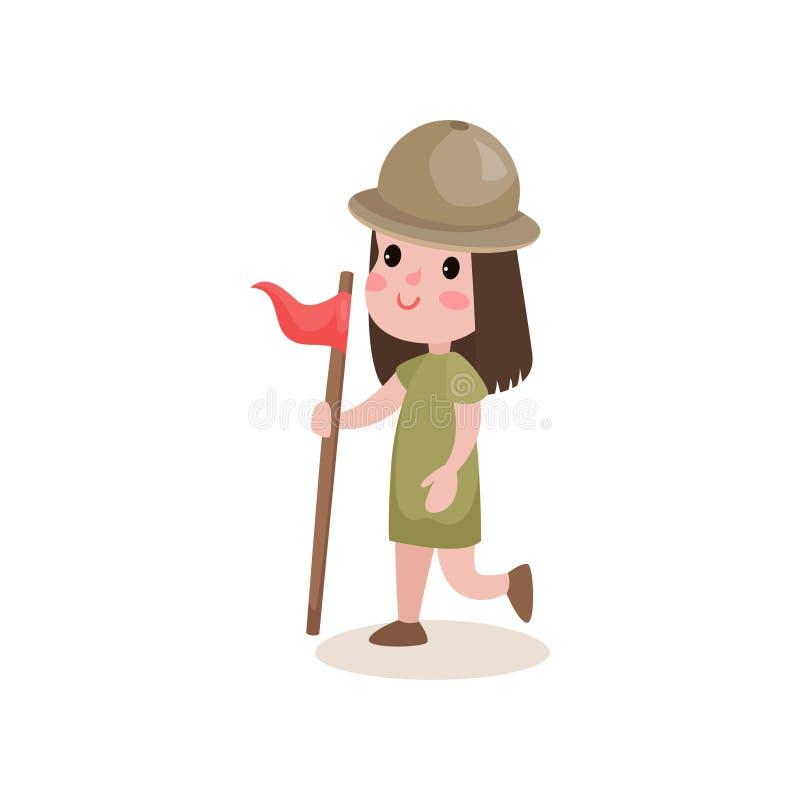 Caractère de fille scout fonctionnant avec le drapeau à disposition, activités de colonie de vacances illustration libre de droits