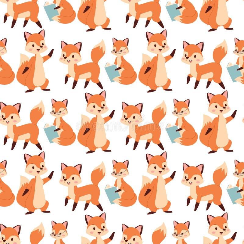 Caractère de Fox faisant la forêt adorable mignonne rusée rouge d'orange de queue et de faune de nature heureuse drôle différente illustration de vecteur