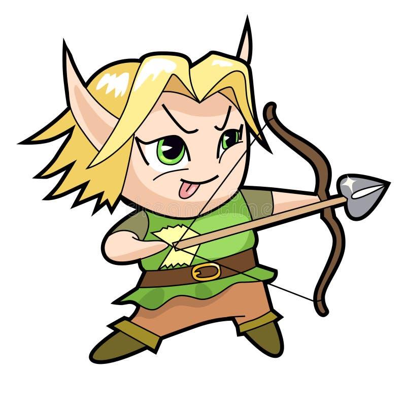 Caractère de garçon de chibi d'imagination, elfe illustration stock