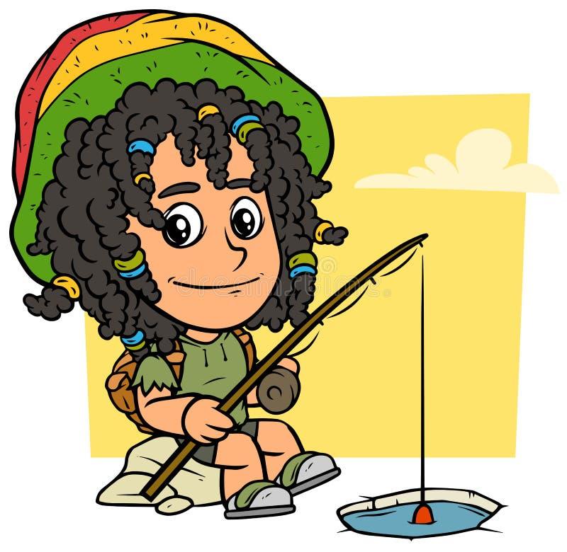 Caractère de garçon de rasta de bande dessinée avec la canne à pêche illustration libre de droits