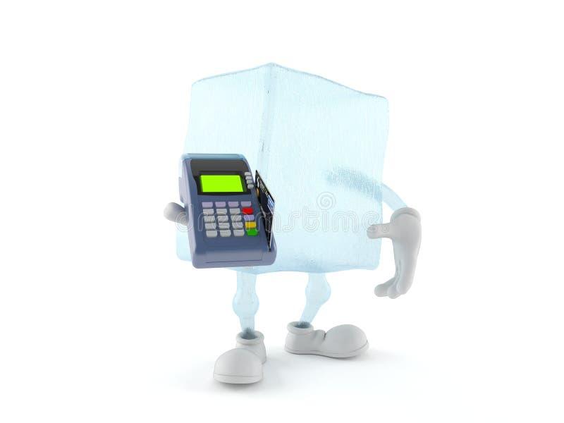 Caractère de glaçon tenant le lecteur de carte de crédit illustration stock