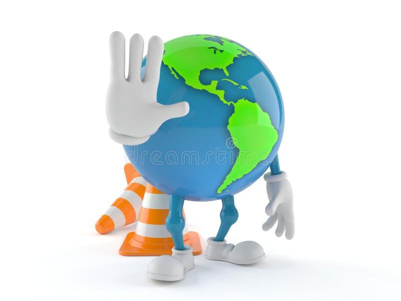 Caractère de globe du monde avec des cônes du trafic illustration libre de droits