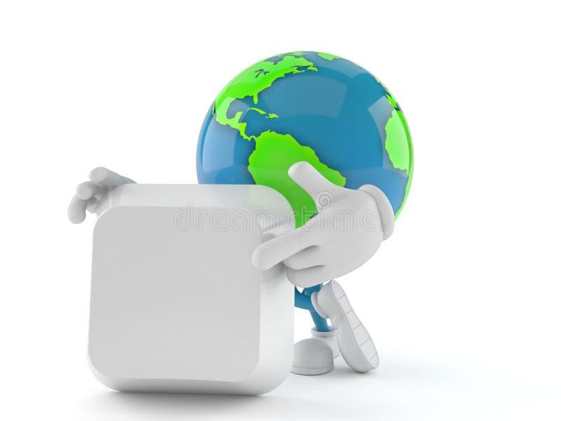 Caractère de globe du monde avec la clé de clavier vide illustration de vecteur