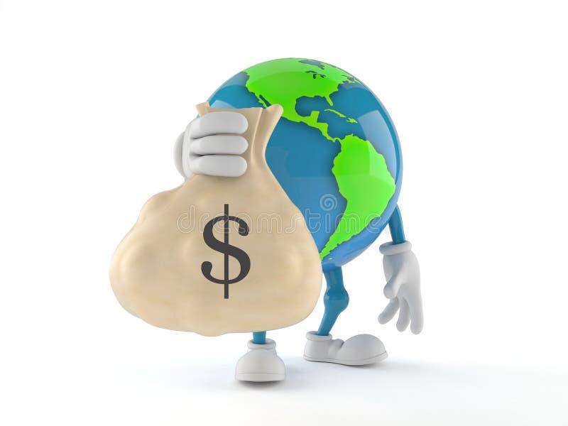 Caractère de globe du monde tenant le sac d'argent illustration de vecteur