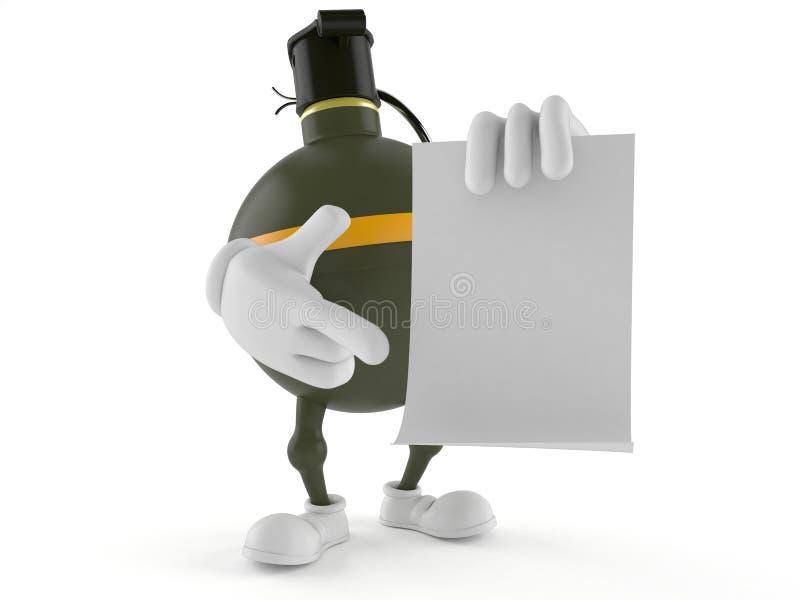 Caractère de grenade à main tenant la page du papier blanche illustration libre de droits