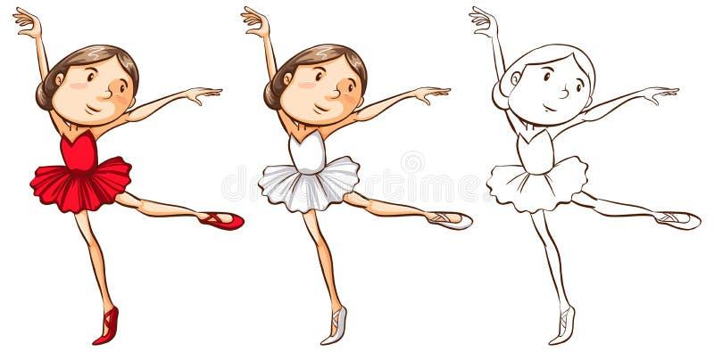 Caractère de griffonnage pour la fille faisant le ballet illustration de vecteur