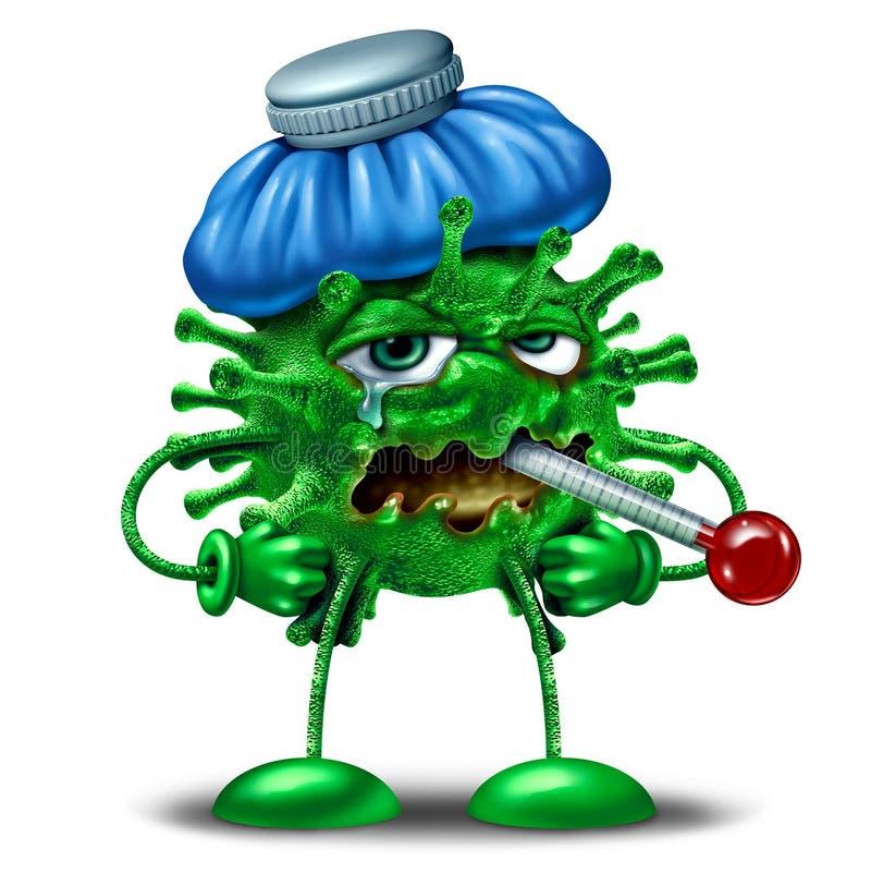 Caractère de grippe d'hiver illustration stock