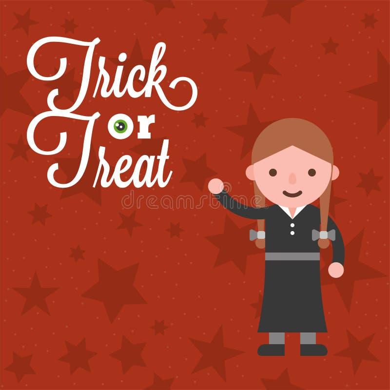Caractère de Halloween une fille dans le costume traditionnel magicien d'Oz t illustration de vecteur