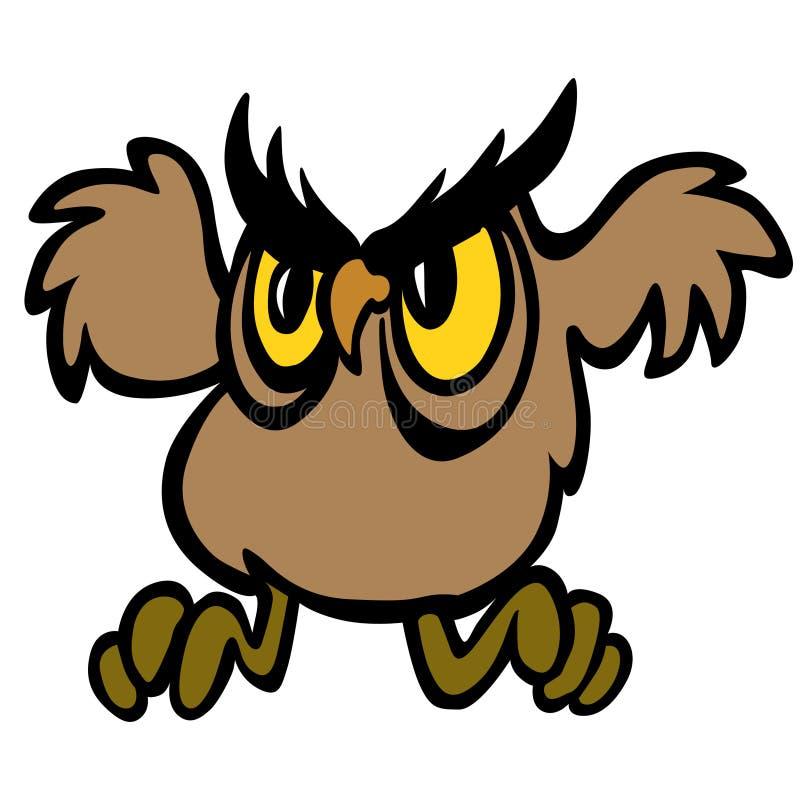 Caractère de hibou de vol Illustration de vecteur illustration libre de droits