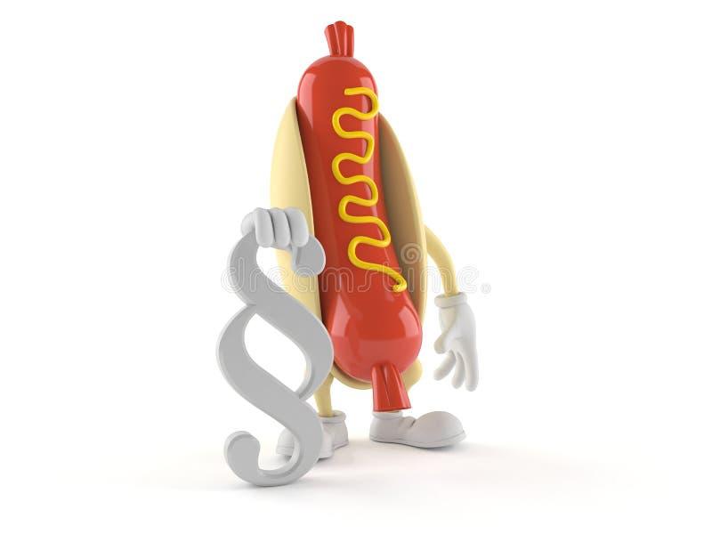 Caractère de hot-dog avec le symbole de paragraphe illustration de vecteur