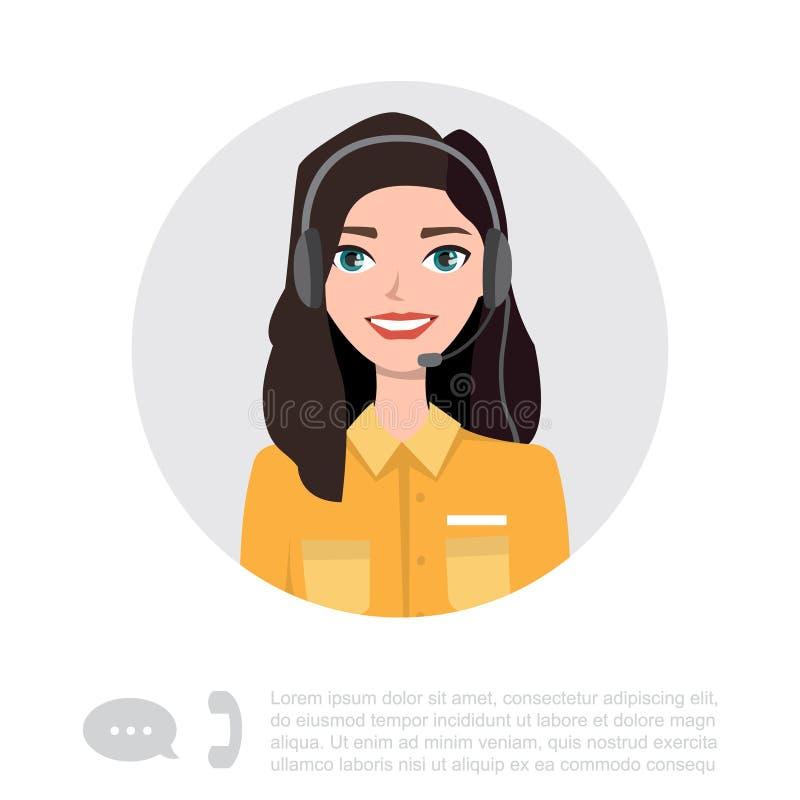Caractère de jeune Madame With Headset Vector illustration libre de droits