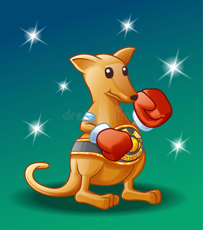 Caractère de kangourou de champion illustration de vecteur